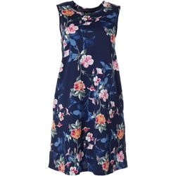 AGB Womens Sleeveless Floral Swing Dress