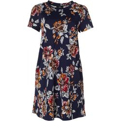 AGB Womens Cap Sleeve Floral Print Swing Dress