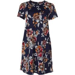 Womens Cap Sleeve Floral Print Swing Dress