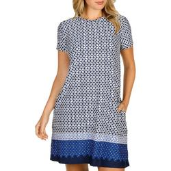 Womens Cap Sleeve Puff Print Swing Dress