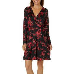 AGB Womens Floral Foil Long Sleeve Wrap Dress