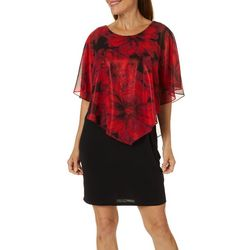 AGB Womens Sheer Floral Overlay Shift Dress
