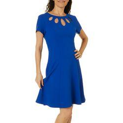 AGB Womens Solid Scuba Cutout Neckline Swing Dress