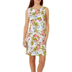 Womens Sleeveless Leafy Floral Shift Dress