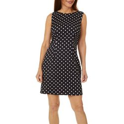 AGB Womens Sleeveless Polka Dot Shift Dress