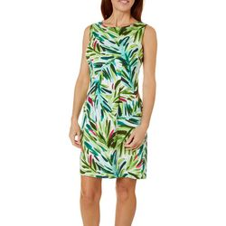 Womens Sleeveless Palm Leaf Shift Dress