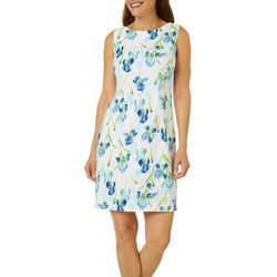 AGB Womens Sleeveless Floral Print Shift Dress
