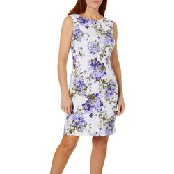 AGB Womens Sleeveless Lilac Floral Shift Dress