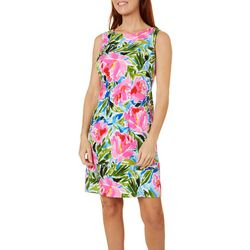 Womens Sleeveless Graphic Floral Shift Dress