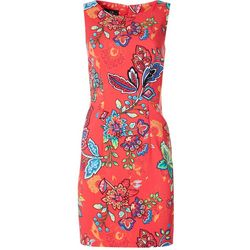 AGB Womens Sleeveless Graphic Paisley Shift Dress