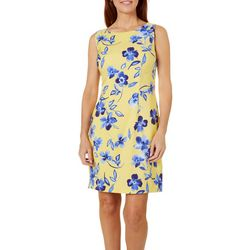 Womens Sleeveless Bright Floral Shift Dress