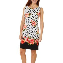 AGB Womens Sleeveless Mixed Polka Dot Floral Shift Dress
