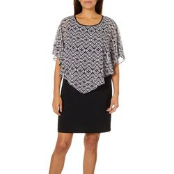AGB Womens Medallion Print Poncho Dress