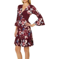 AGB Womens Floral Print Faux-Wrap Dress