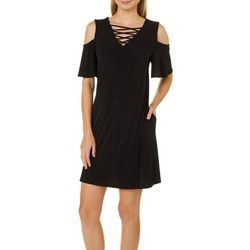 AGB Womens Crisscross Cold Shoulder Sundress
