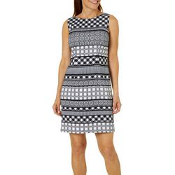 AGB Womens Mixed Stripe Sleeveless Shift Dress