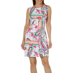 AGB Womens Mixed Paisley Sleeveless Shift Dress