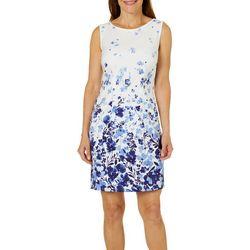AGB Womens Garden Print Sleeveless Shift Dress