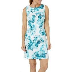 AGB Womens Floral Print Sleeveless Shift Dress