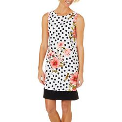 AGB Womens Dotted Floral Sleeveless Shift Dress
