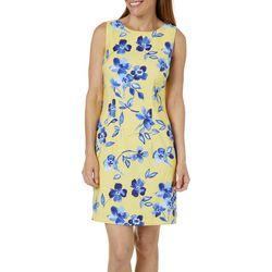 AGB Womens Falling Floral Sleeveless Shift Dress