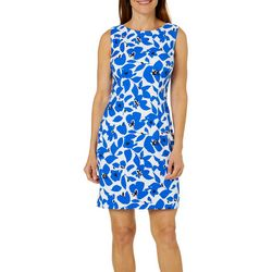 AGB Womens Falling Flowers Sleeveless Shift Dress