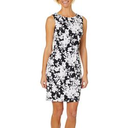 AGB Womens Floral Print High Neck Sleeveless Shift Dress