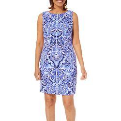 AGB Womens Geometric Print Sleeveless Shift Dress