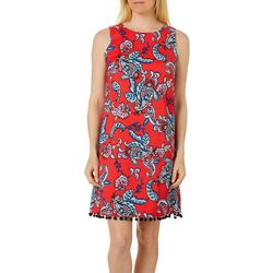 AGB Womens Paisley Print Pom Pom Trim Sleeveless Shift Dress