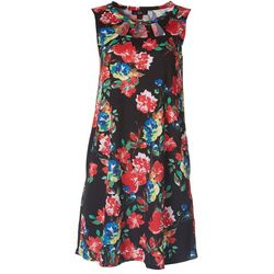 AGB Womens Floral Print Sleeveless Cutout Dress