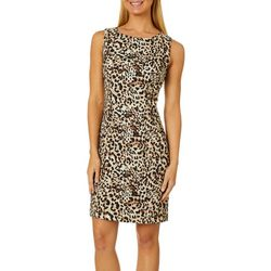 AGB Womens Cheetah Print Sleeveless Shift Dress