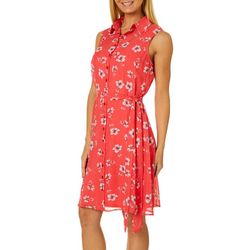 AGB Womens Floral Print Button Down Sleeveless Shirt Dress