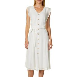 AGB Womens Belted Gauze Button Down Shirt Dress