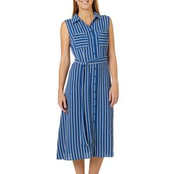 AGB Womens Belted Stripe Button Down Sleeveless Shirt Dress
