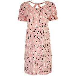 AGB Womens Cap Sleeve Leopard Print Swing Dress