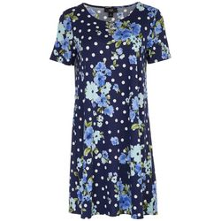 AGB Womens Short Sleeve Floral and Polka Dot Dress