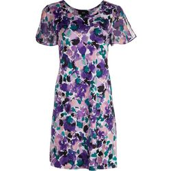 AGB Womens Cap Sleeve Floral Aquarelle Print Swing Dress