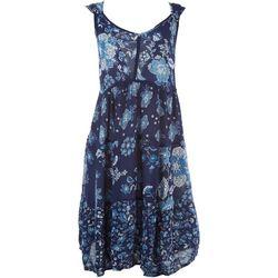 Bila Womens Flower Lattice Sleeveless Swing Dress