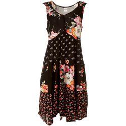 Bila Womens Flowery Sleeveless Swing Dress