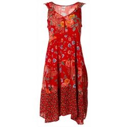 Bila Womens Floral Sleeveless Swing Dress