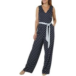 Emma & Michelle Womens Belted Dot Print Sleeveless Jumpsuit