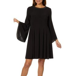 Emma & Michelle Womens Embellished Bell Sleeve Dress