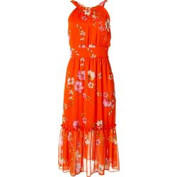 Womens Floral Tiered Halter Midi Dress