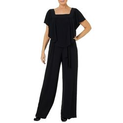 Emma & Michelle Womens Solid Popover Wide Leg Jumpsuit