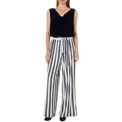 33e710432e4 Emma   Michelle Womens Belted Striped Sleeveless Jumpsuit