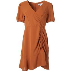 Womens Solid Ruched Dress