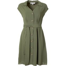 Emma & Michelle Womens Solid Button Down Dress