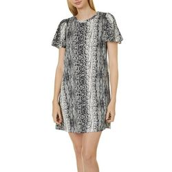 Emma & Michelle Womens Snakeskin Print Sheath Dress