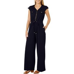 Emma & Michelle Womens Zippered Wide Leg Jumpsuit