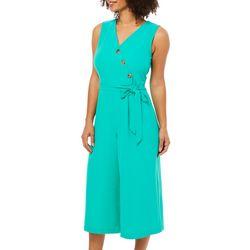 86e444baa46 Emma   Michelle Womens Belted Faux-Wrap Capri Jumpsuit